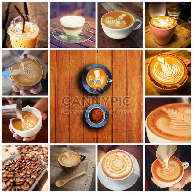 Collage of photos with coffee art - Free image #187067