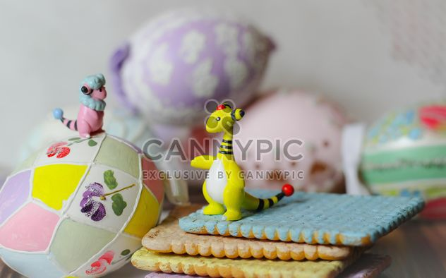 Still life with pokemons and easter eggs - image #187497 gratis