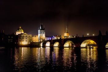 night city Czech Republic, bridge at night - image #198617 gratis