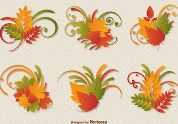 Autumn Leaves Ornament Vectors - vector gratuit #199257