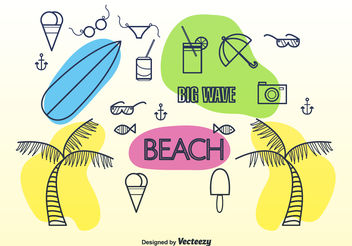 Doodle summer elements - vector gratuit #199347