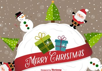 Happy christmas cartoon background - Free vector #199357