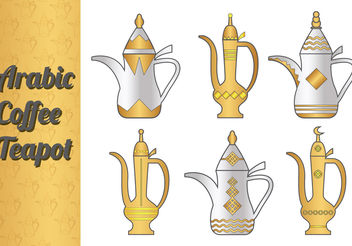 Arabic Coffee Pot Vectors - vector gratuit #199367