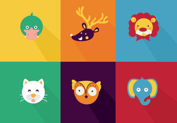 Cute Animal Cartoon Vectors - Kostenloses vector #199407