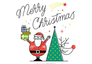 Free Merry Christmas Vector Card - vector gratuit #199497