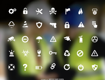 Caution and security icon set - vector gratuit #199517
