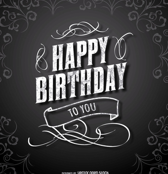 Happy Birthday Black elegant card - vector gratuit #199527