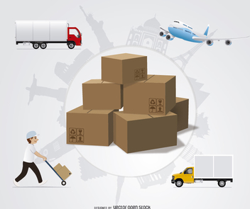 International shipping design - vector #199537 gratis