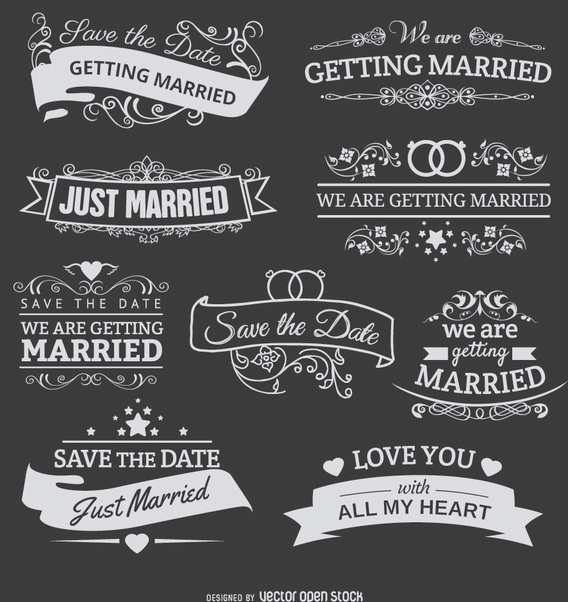 9 Chalk emblems for wedding invitations - vector gratuit #199557