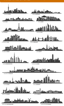 19 famous cities skylines including Paris, London, Sidney and more - vector gratuit #199597