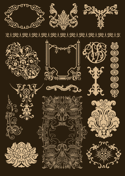 Baroque Ornamental set - Free vector #199607
