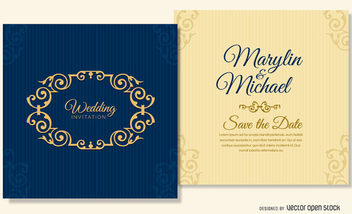 navy blue wedding card template - бесплатный vector #199667