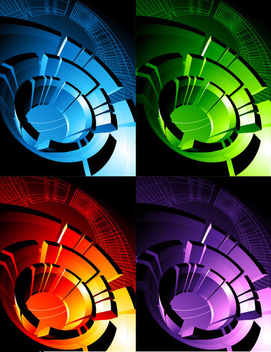 Hi-Tech Spiral Lines Background - vector gratuit #199737