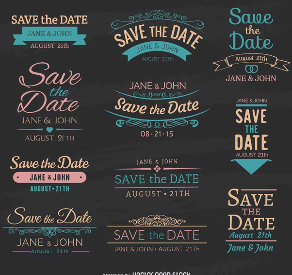 Save The Date Chalk Emblems Free Vector Download 199747