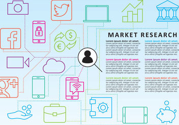 Market Research Line Icon Vectors - vector gratuit #200377