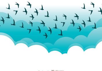 Flying Bird In Blue Sky Vector - Free vector #200567