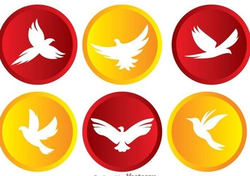 Vector Flying Bird In Circle Icons - Free vector #200577