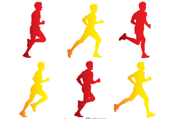 Man Running Silhouette Vectors - Free vector #200587