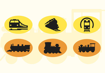 Set Of Cute Train Vector Icons Silhouettes 2 - Free vector #200877