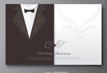 Wedding groom suit and bride's dress invitation - бесплатный vector #200907
