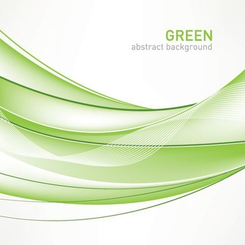 Abstract Green Waves Lines Background - Free vector #200967
