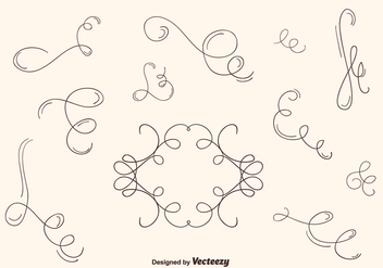 Hand Drawn Curly Swirl Vector Set - Free vector #201197