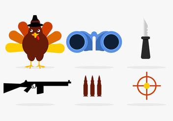 Turkey hunting vector elements - Free vector #201337