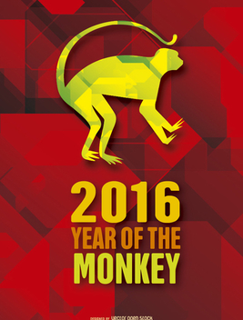 Year of the Moneky 2016 background - vector #201407 gratis