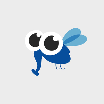 Cute Blue Insect Character Vector - Free vector #201817