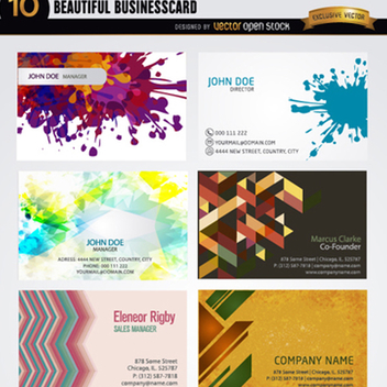 10 Artistic Abstract Business Card Tempates - vector #201857 gratis