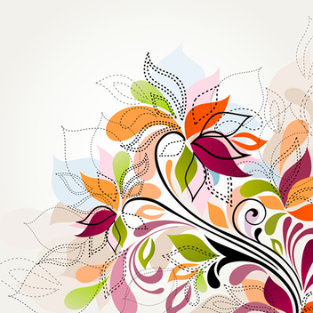 Free Swirly Colorful Floral Vector - vector gratuit #201997