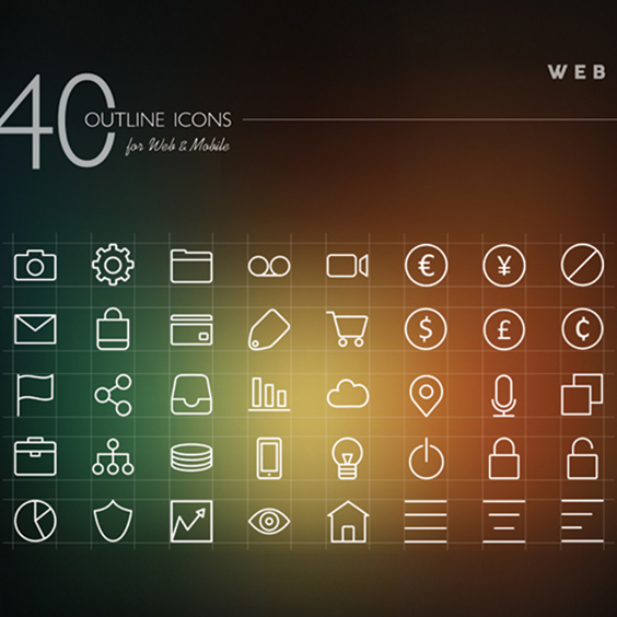 White Web Outline Icon Vectors Set - vector #202047 gratis