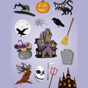 15 Horror Halloween Vector Cartoons - vector #202167 gratis