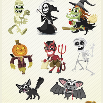 Halloween Vector Cartoon Characters Set - vector gratuit #202177