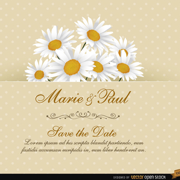 Daisy Floral Wedding Invitation Vector Card - Kostenloses vector #202197