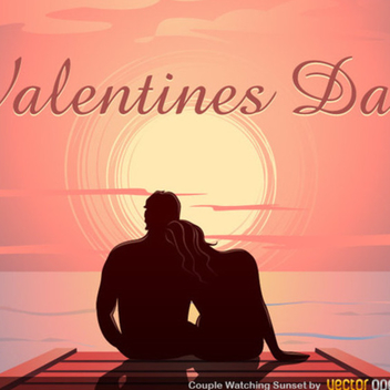 Valentine's Sunset Dock Vector - Free vector #202407