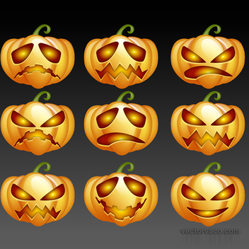 Free Vector Halloween Pumpkins Pack - vector #202607 gratis