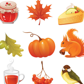 Autumn Icons Vector Graphics - Free vector #202717
