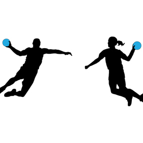 Handball Players Silhouette Vectors - Free vector #202957