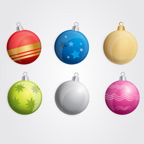 Six Free Vector Christmas Baubles - бесплатный vector #202977