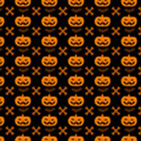 Halloween Pumpkin And Cross Bone Seamless Pattern - vector gratuit #203077