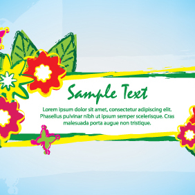 Green Brush Banner Flowers Design - vector gratuit #203277