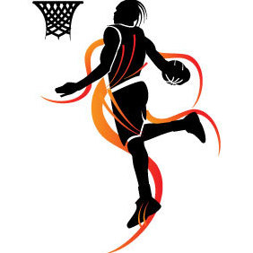 Basketball Player Slam Dunk - Free vector #203417