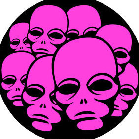 Pink Alien Faces Vector - Free vector #203587
