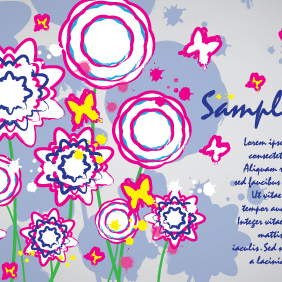 Colorful Flowers Card Brush Design - Free vector #203607