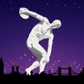 Olympic Discobolus In London 2012 - бесплатный vector #203997