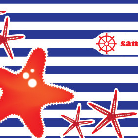 Sea Stars Vector Card Design - vector gratuit #204677