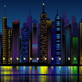 City At Night Vector - Free vector #204817