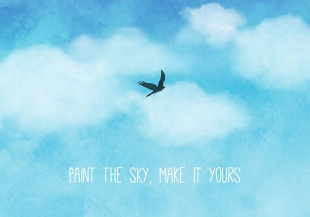 Blue Watercolor Sky And Clouds Background - Free vector #205197