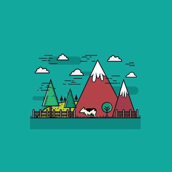 Flat Mountain Farm - vector gratuit #205227